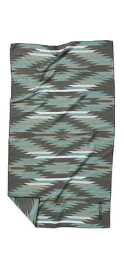 Front facing image of green, blue, white and grey eco-friendly tribal pattern towel. Available for purchase on The Conservationist.