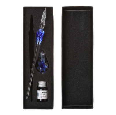 Ink Pen - Art Elegant Crystal Floral Glass Dip Pen