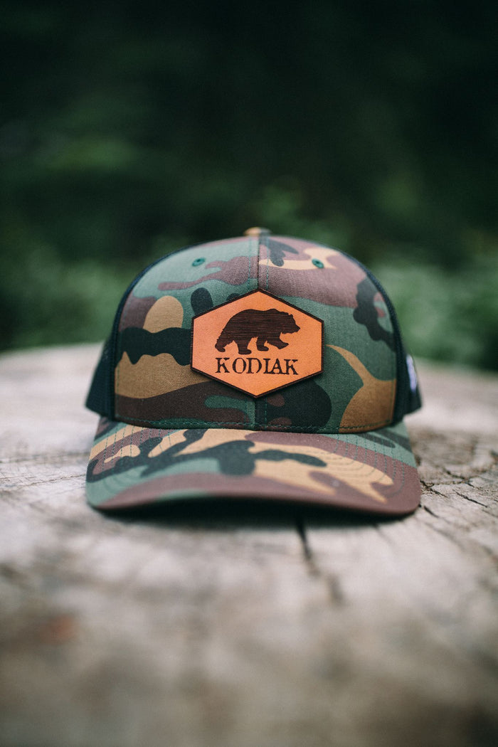 Camo Snapback Leather Patch Hat