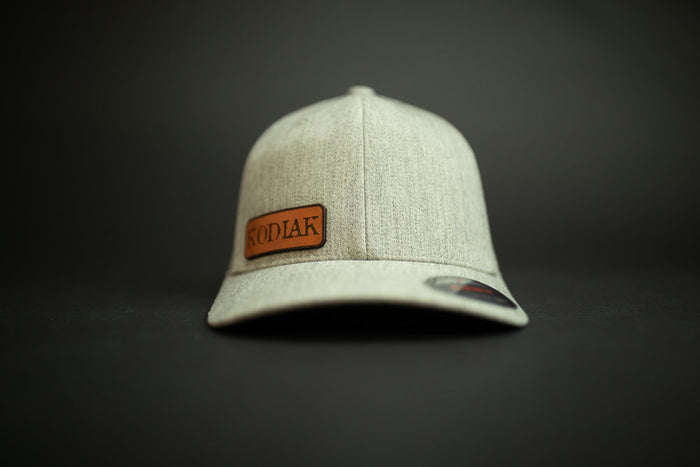 Kodiak Flexfit Leather Patch Hat - Gray