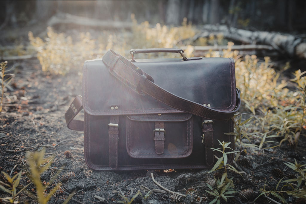 "18"" Buffalo Leather Satchel"