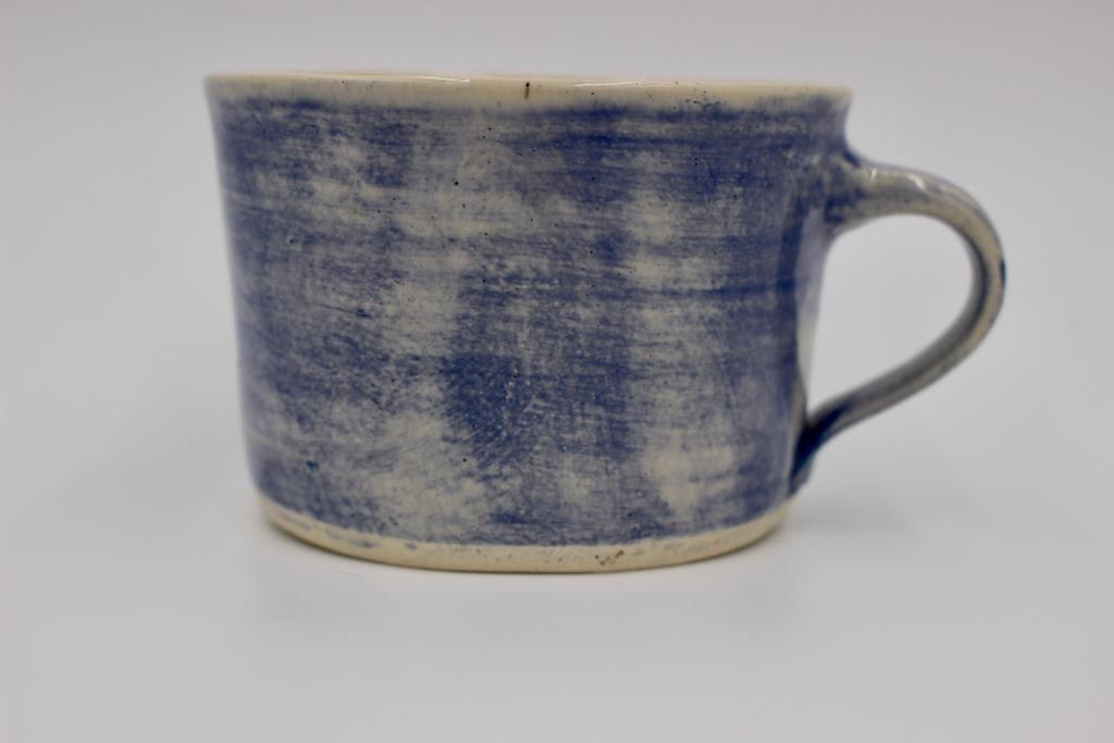 Squat Style Ceramic Mug In A Blue Wash
