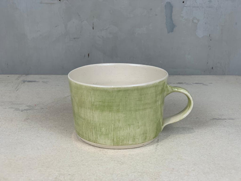 Squat Style Ceramic Mug In An Irish Green Wash