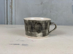Squat Style Ceramic Mug In A Charcoal Wash