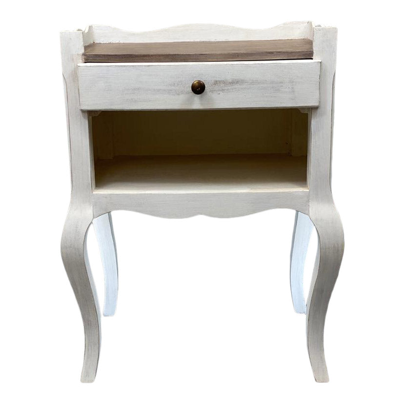 Mary Ann French Style Lamp Table With Antiqued White Finish