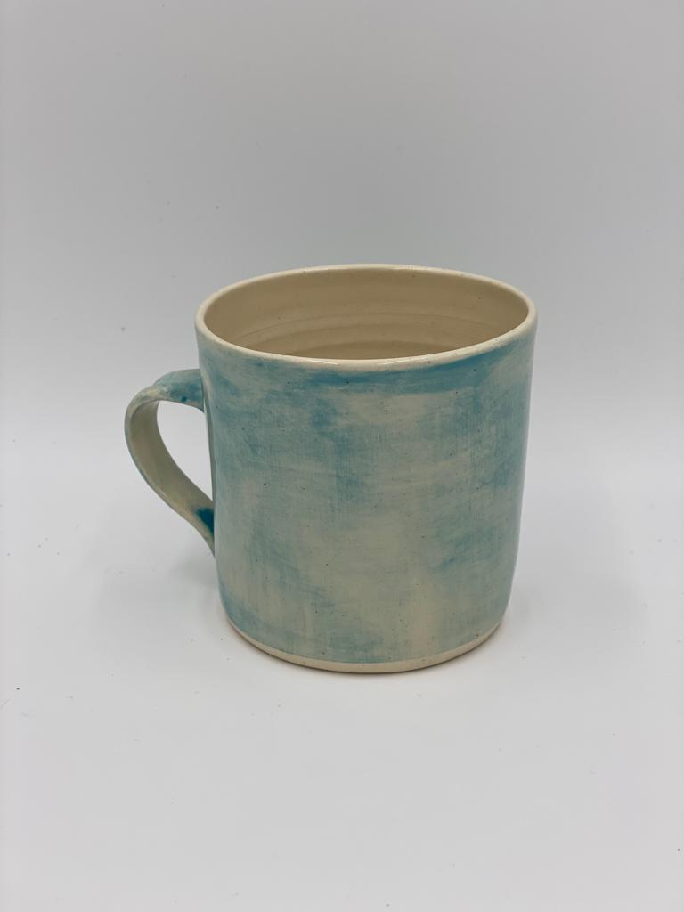 Large style clay mug in a turquoise wash