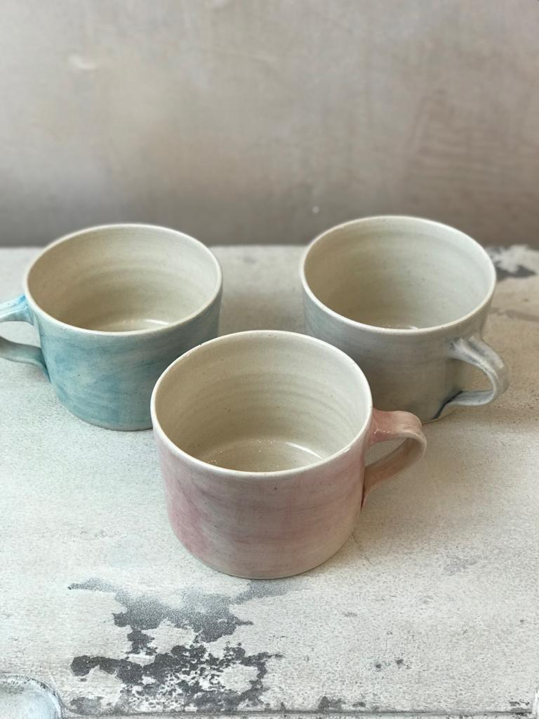 Squat Style Ceramic Mug In A Pink Wash