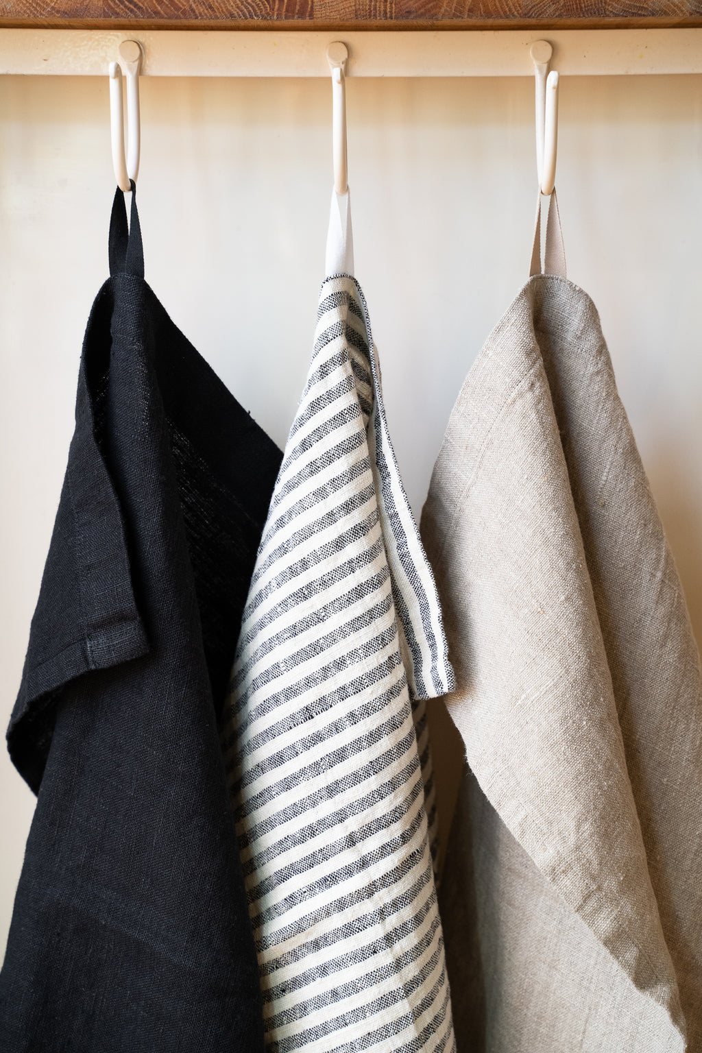 French Linen Hand Towel - Ticking  Stripe