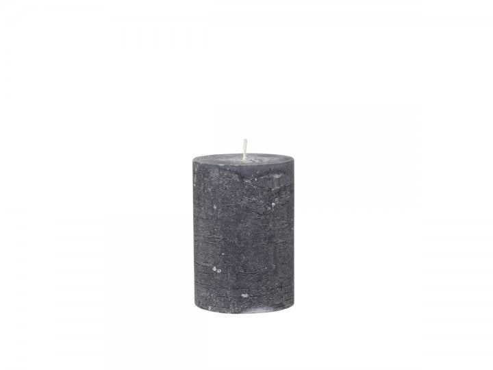 Medium Rustic Pillar Candle Charcoal-40 Hour Burn Time