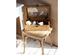 Fenella French Style Wood And Rattan Stool