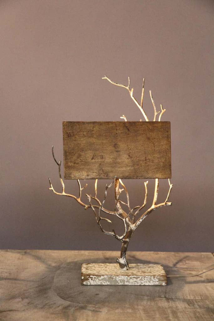 Twiggy Metal Lamp With Metal Antiqued Shade