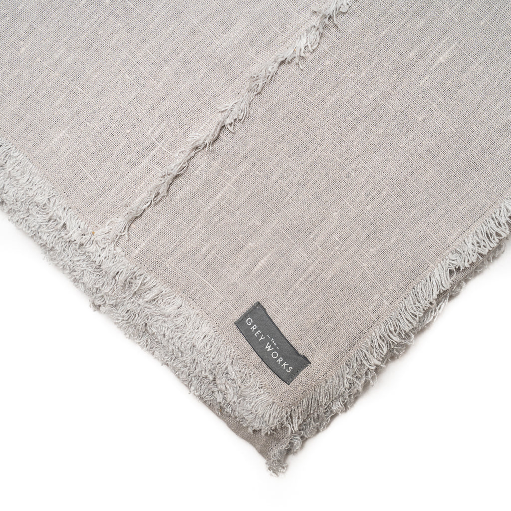 Large Frayed Edge French Linen Tablecloth - Light  Grey