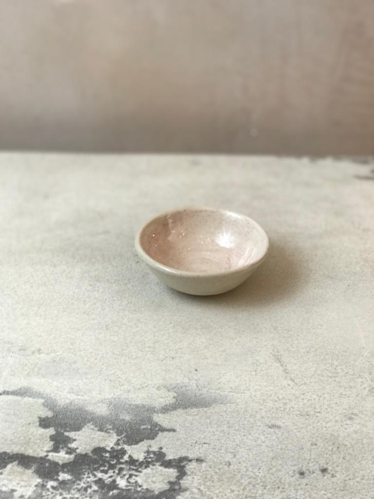 Small Salt Dish  In A Pink Wash