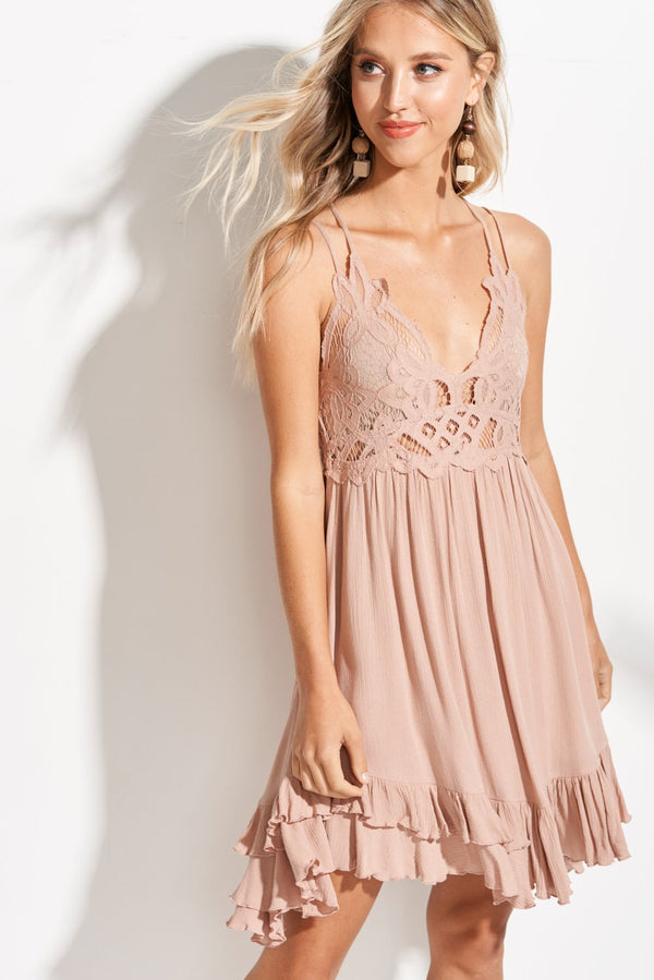Isabelle Khaki Beige Breeze Slip Dress