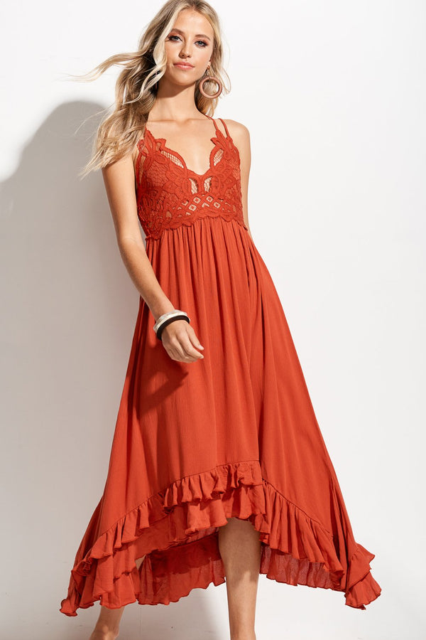 Lacey Marsala Red Long Slip Dress