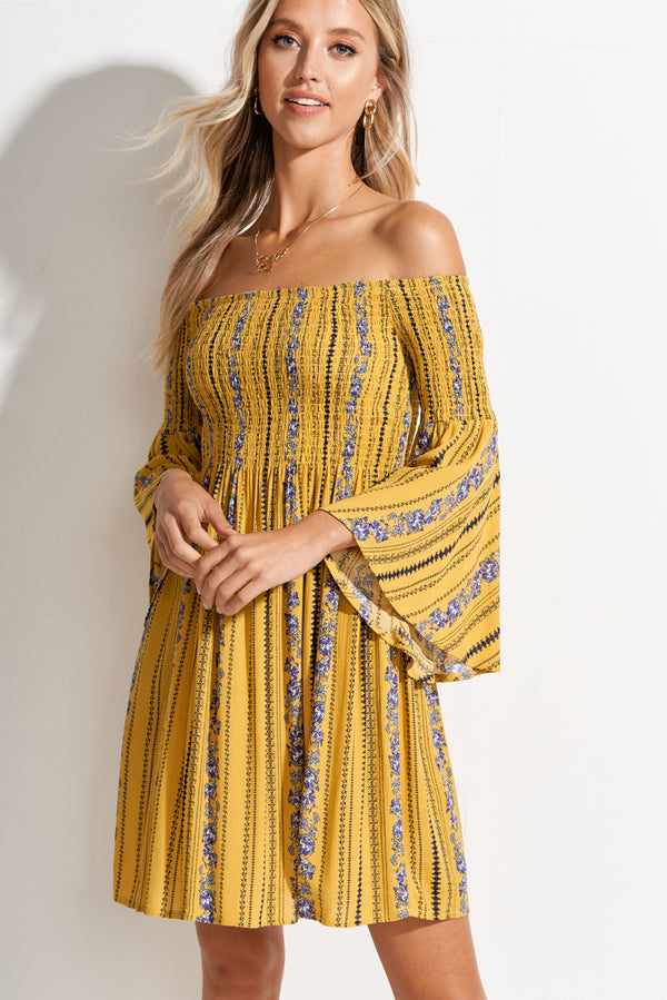 Canary Yellow Off the Shoulder Smocked Floral Dress