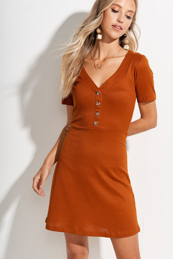 Caramel Brown May Ribbed Button Front A-line Dress