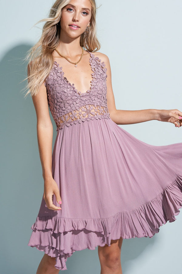 Mauve Purple Flower Crochet Breeze Dress