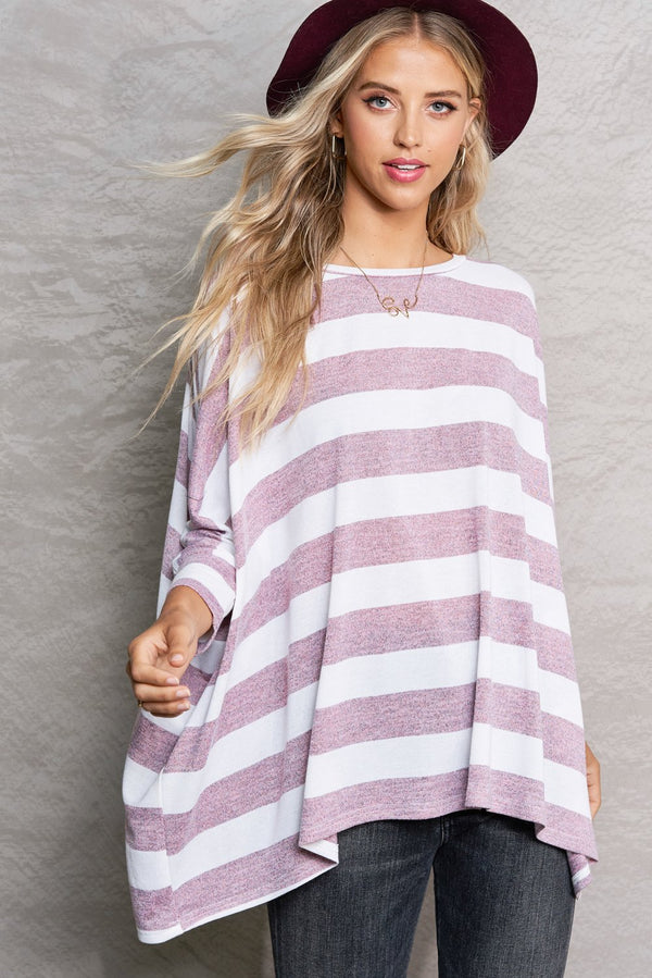 Berry Purple Soft Bold Stripe Pullover Sweater