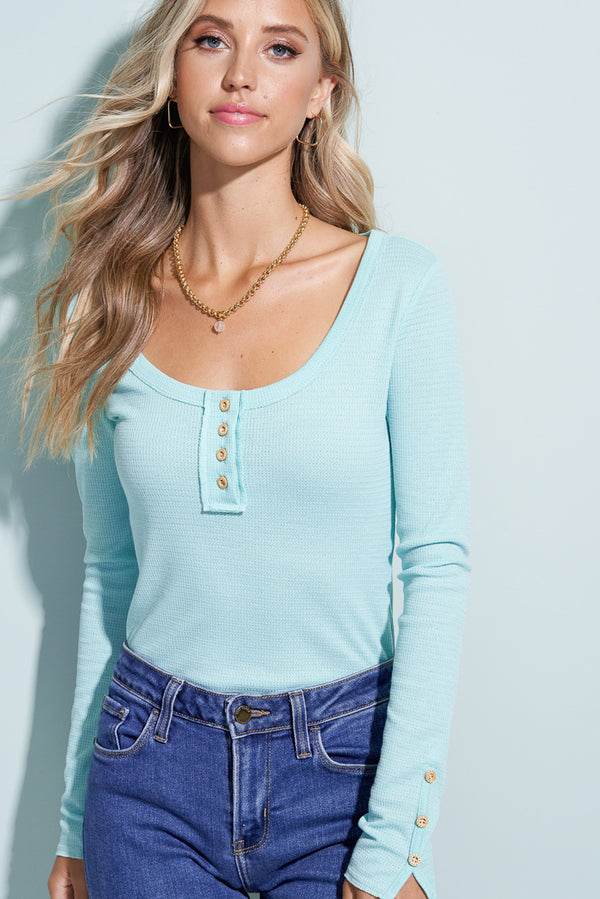 Maya Blue Button Henley Top