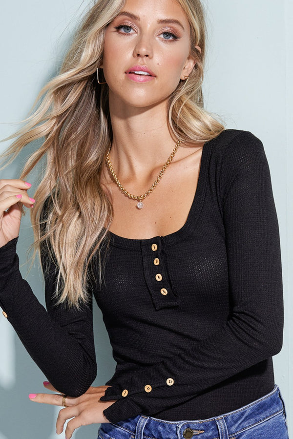 Black Button Henley Top