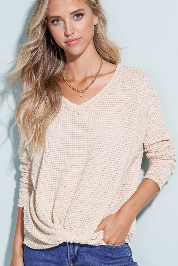 Beige Knit & Knotted Front Sweater