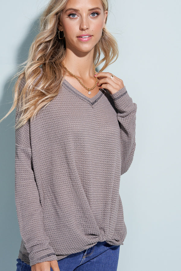 Mocha Brown Knit & Knotted Front Sweater