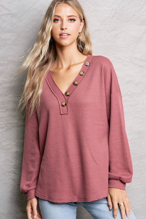 Paige Marsala Red Button V-Neck Knit Top