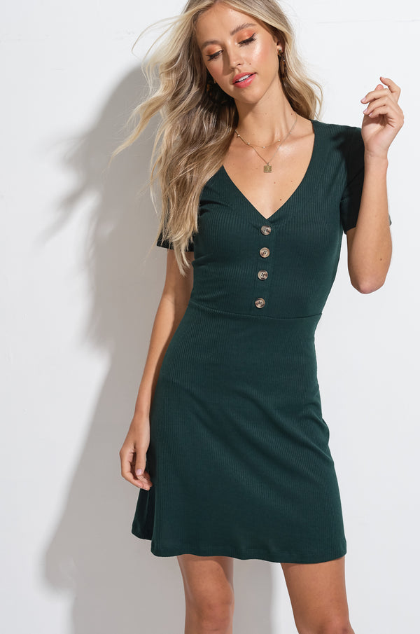 Dark Green May Ribbed Button Front A-line Dress
