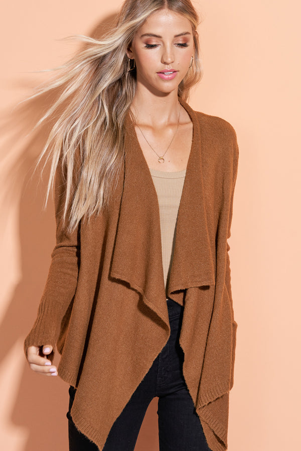 Mabel Camel Brown Open Front Cardi