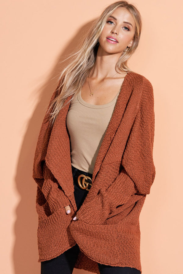 Makenna Rust Brown Well Rounded Cardi