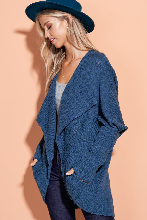 Makenna Teal Blue Well Rounded Cardi