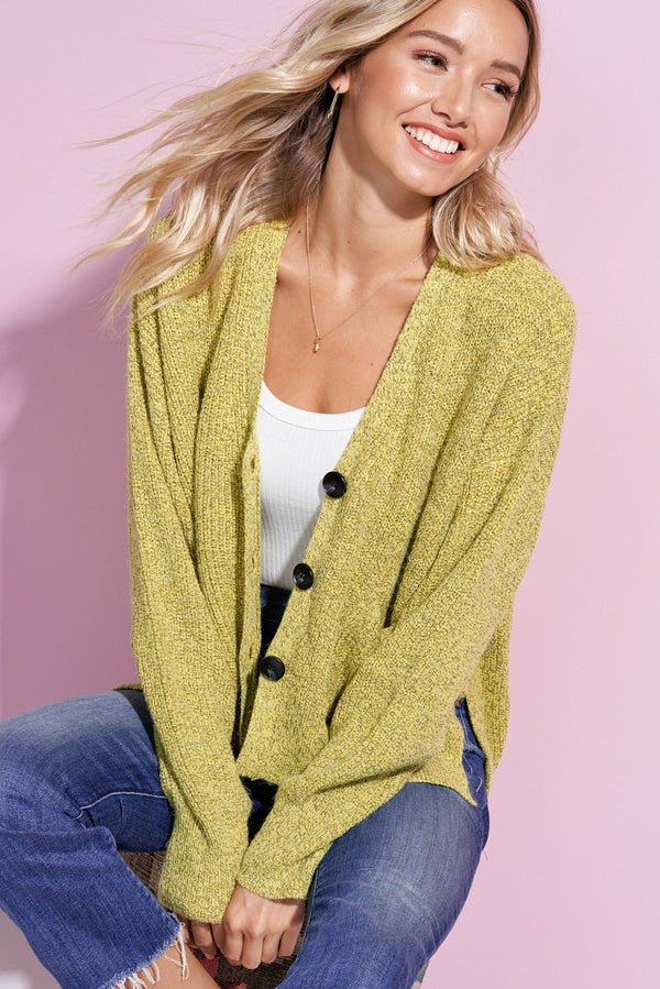 Hailey Lemon Hi-Low Button Up Cardi