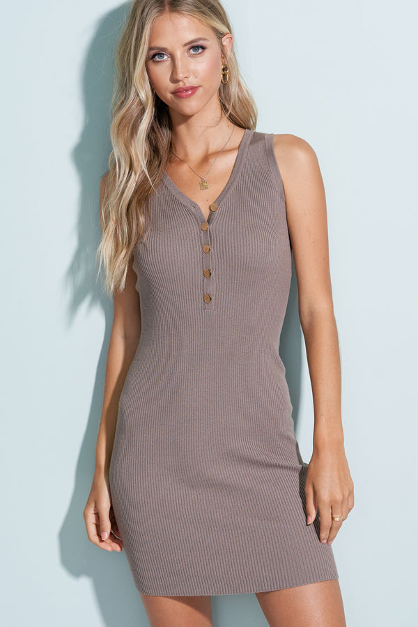 Mocha Brown Ribbed V-Neck Mini Dress