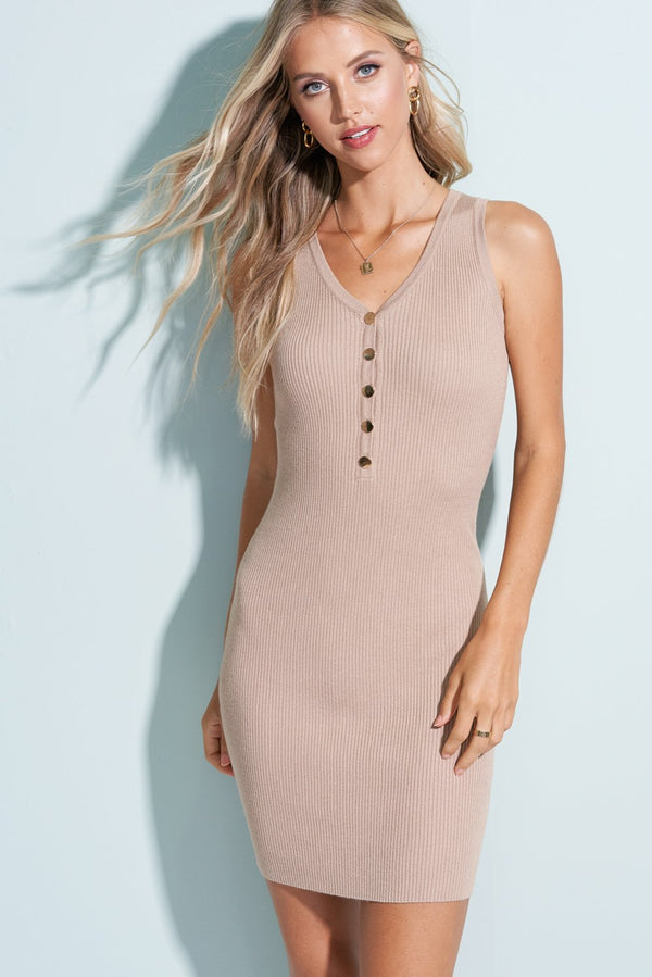 Beige Ribbed V-Neck Mini Dress