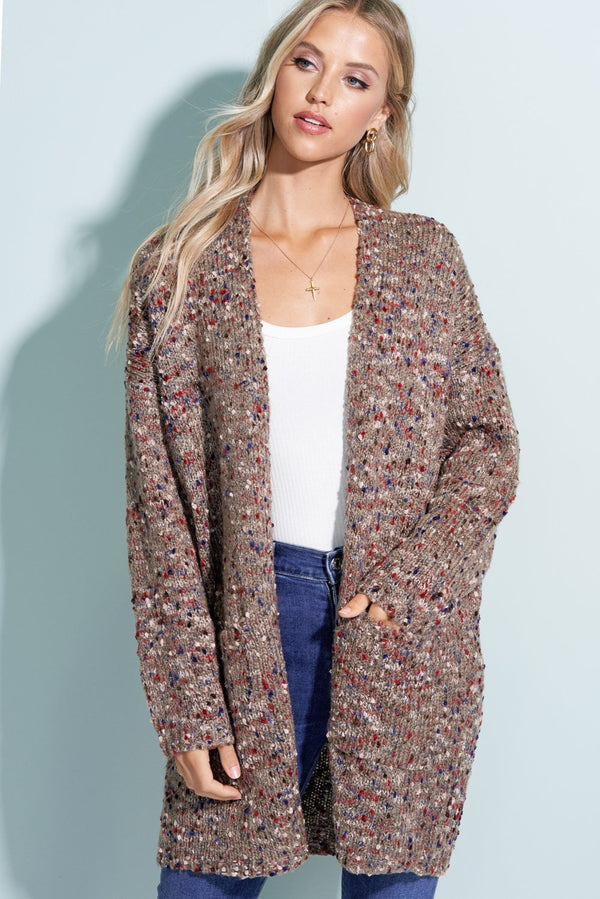 Mila Mocha Brown Popcorn Cardigan