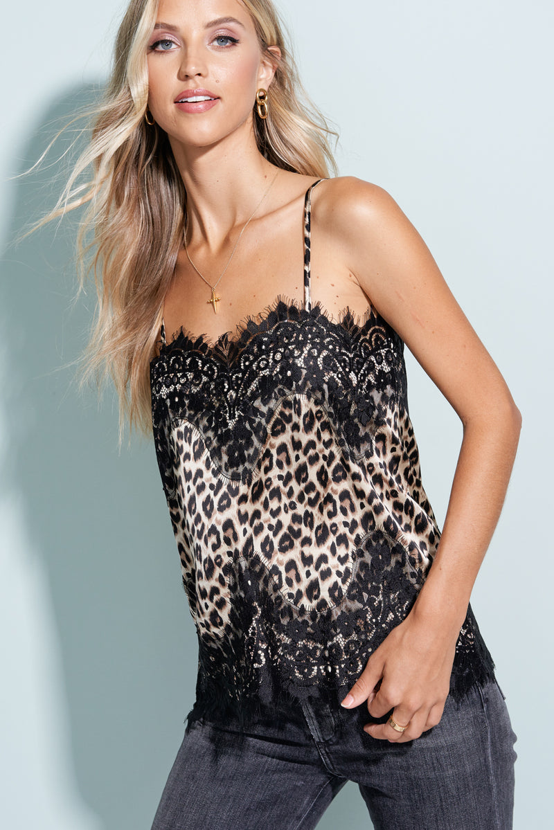 Kyra Black Eyelash Lace Animal Camisole Top