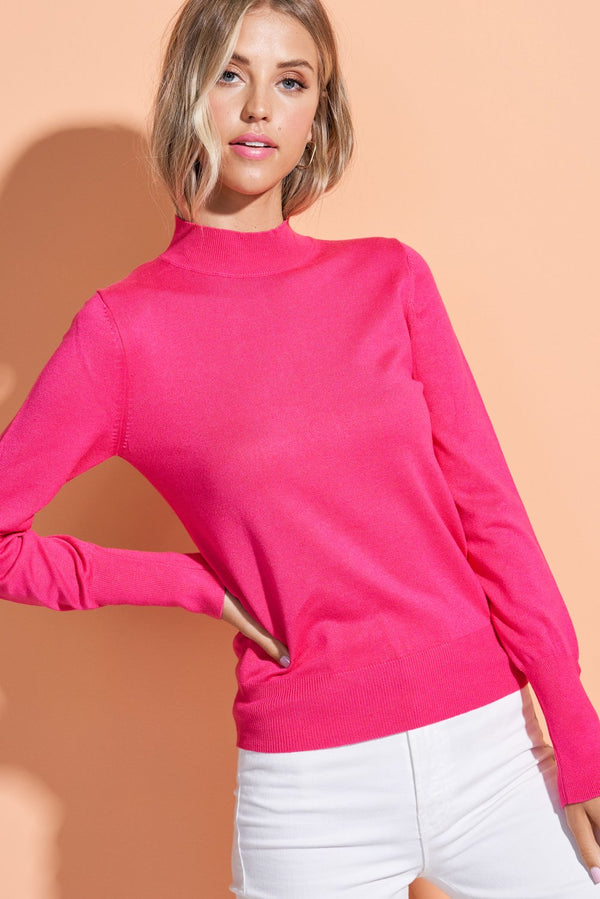 Rosalie Pink Button Sleeve Mock Neck Top