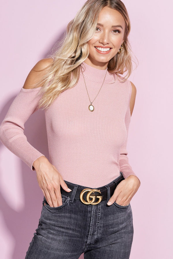 Savannah Blush Cold Shoulder Knit Top