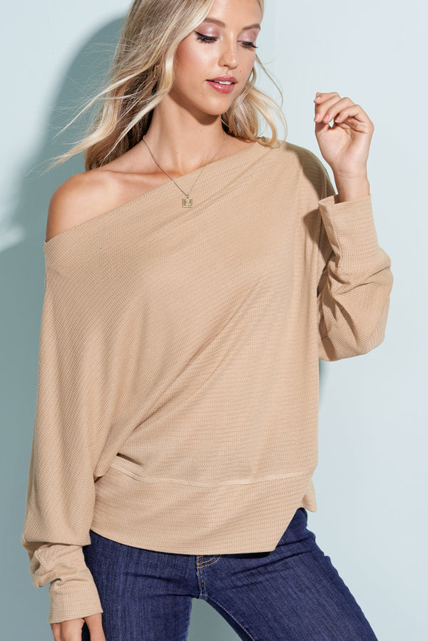 Beige Off the Shoulder Top