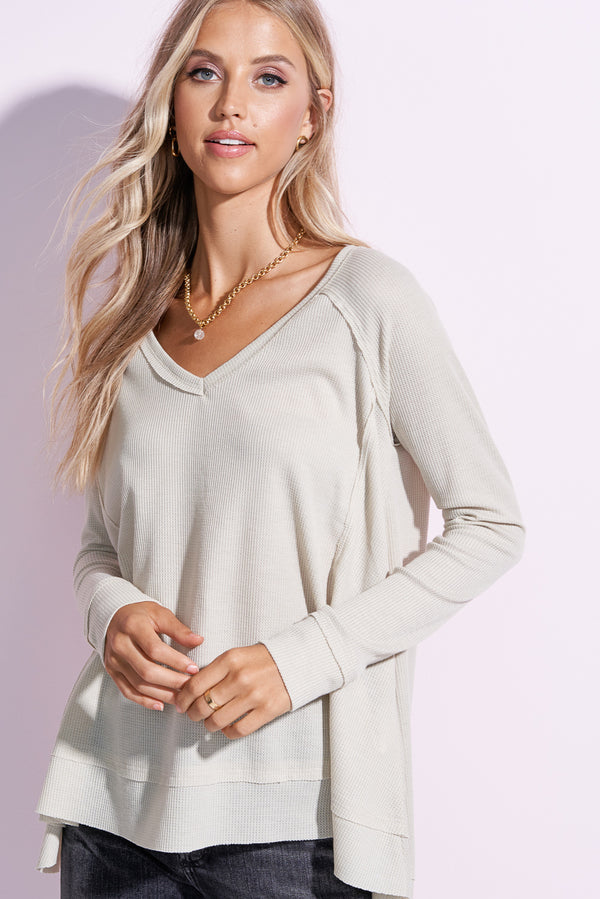 London Silver V-neck Flowy Top