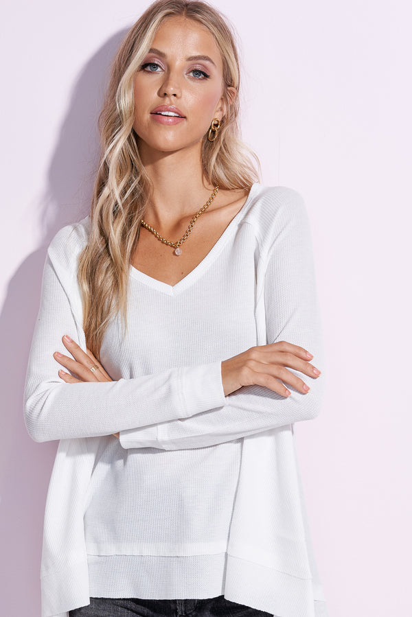 London White V-Neck Flowy Top