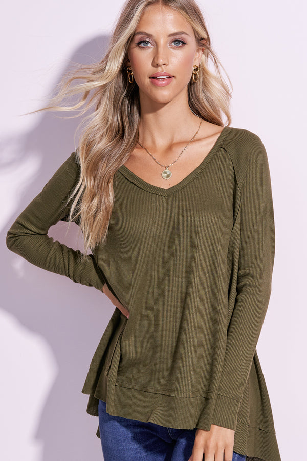 London Olive Green V-Neck Flowy Top
