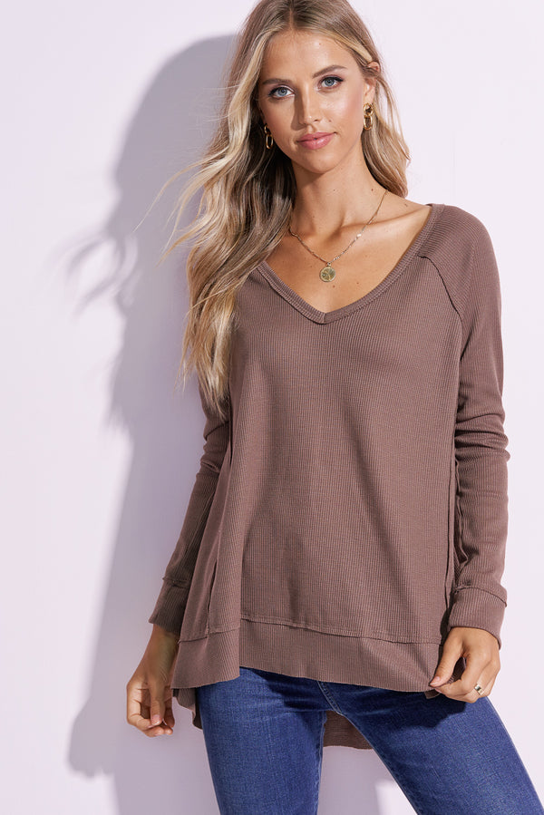 London Mocha V-Neck Flowy Top