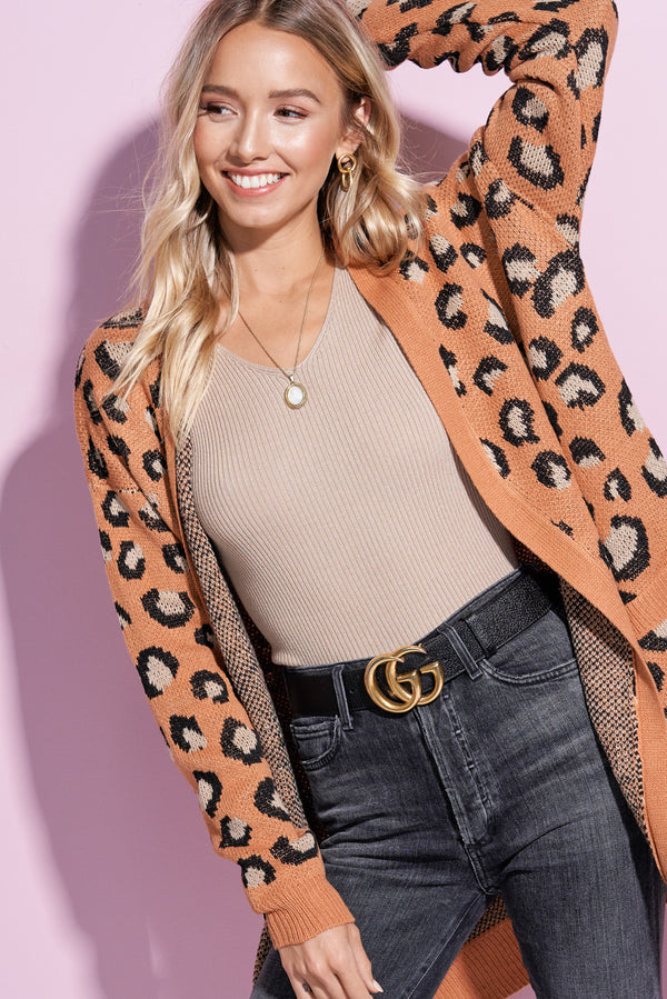 Jaqueline Camel Brown Animal Print Long Cardi