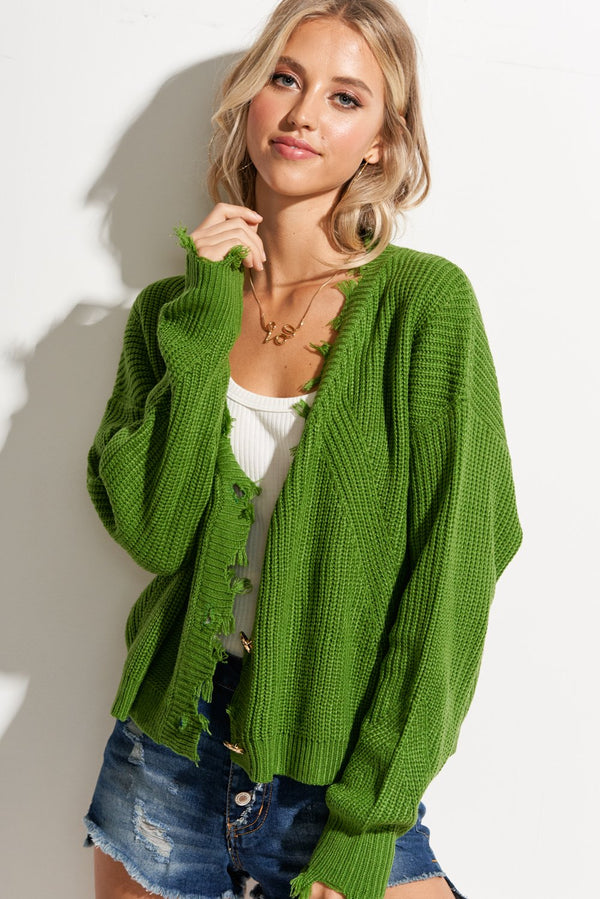 Deville Green Frayed Loose Fit Cardigan