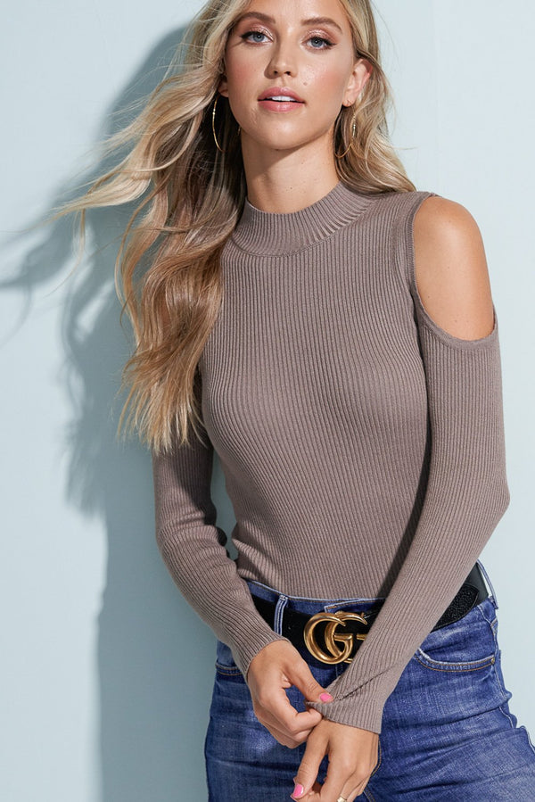 Savannah Mocha Brown Cold Shoulder Knit Top