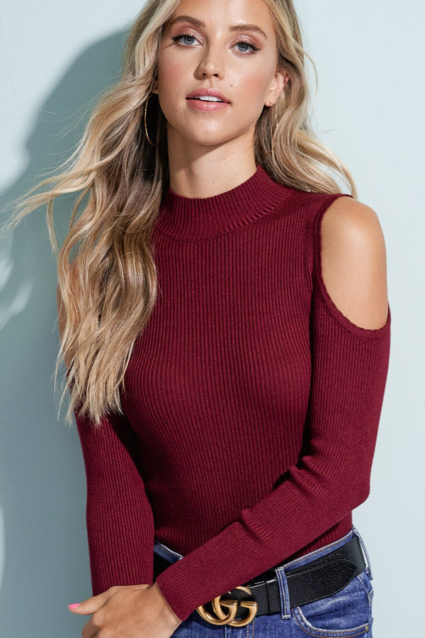 Savannah Burgundy Red Cold Shoulder Knit Top