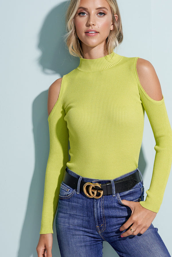 Savannah Neon Green Cold Shoulder Knit Top