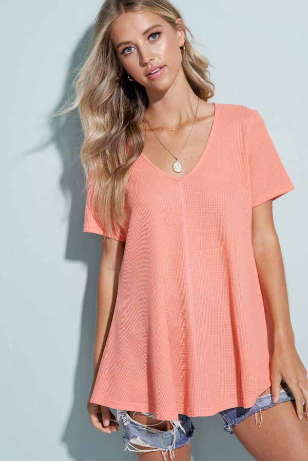 Coral Orange V-Neck Thermal Cloud Top